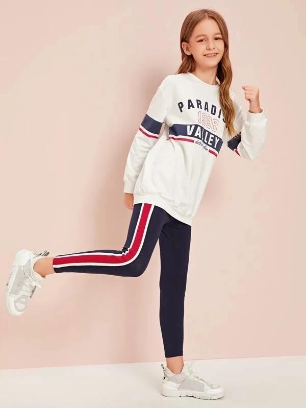 Girls Slogan Graphic Pullover & Side Striped Leggings Set #stripedleggings