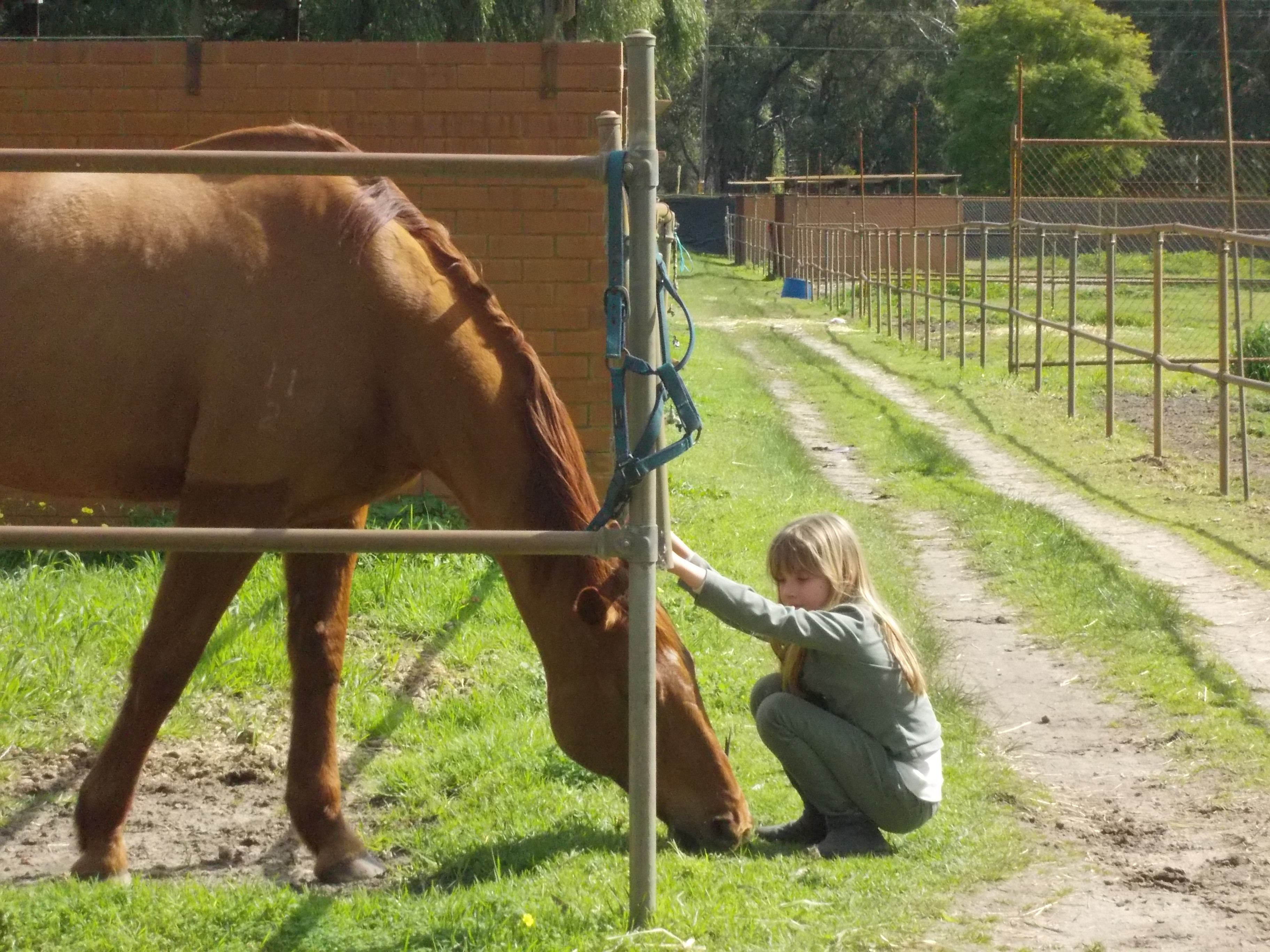 One of our friends´children and our horse Flee