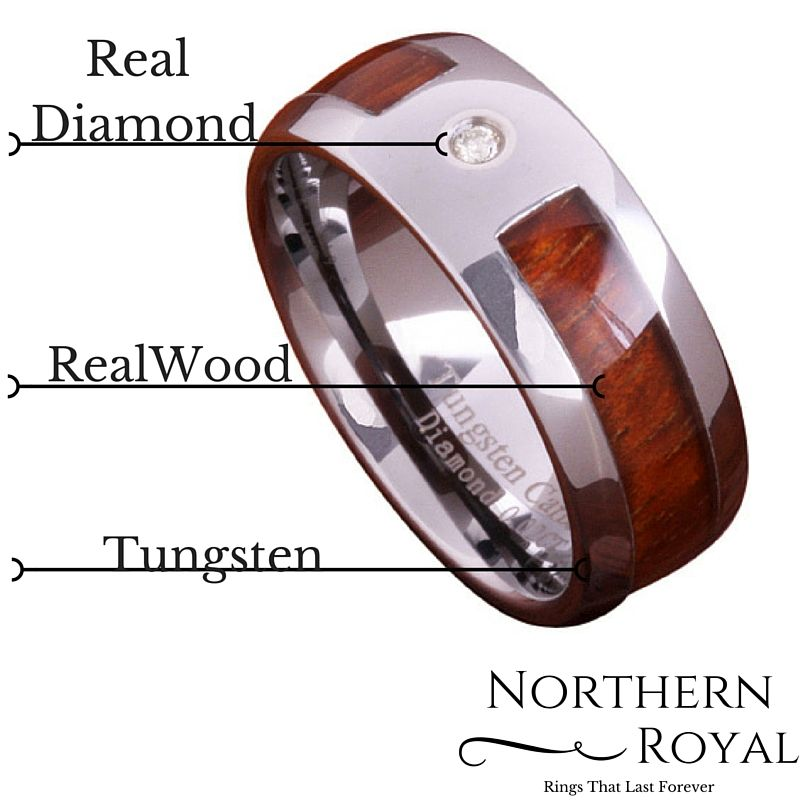 Wood Diamond Ring Crafted Out Of Tungsten Carbide Genuine 002ct