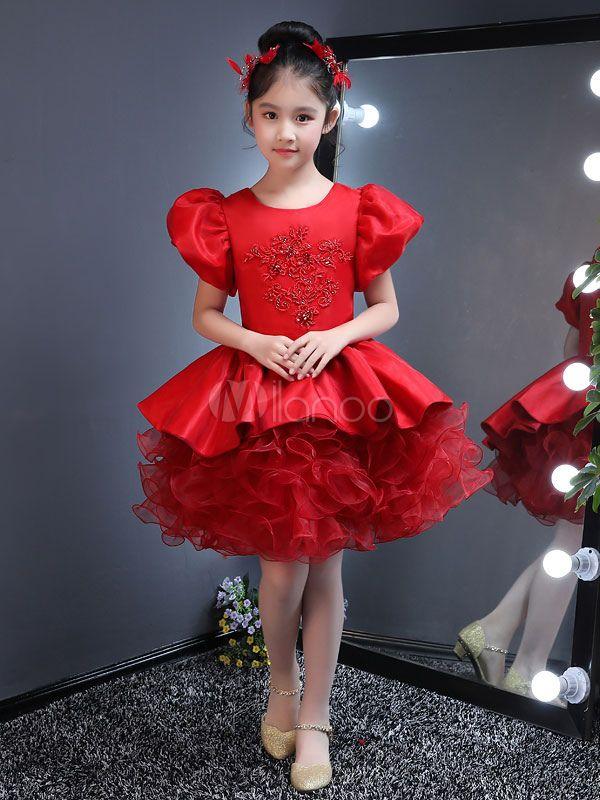 Red Flower Girl Dresses Short Tutu Dress Puff Sleeve Lace