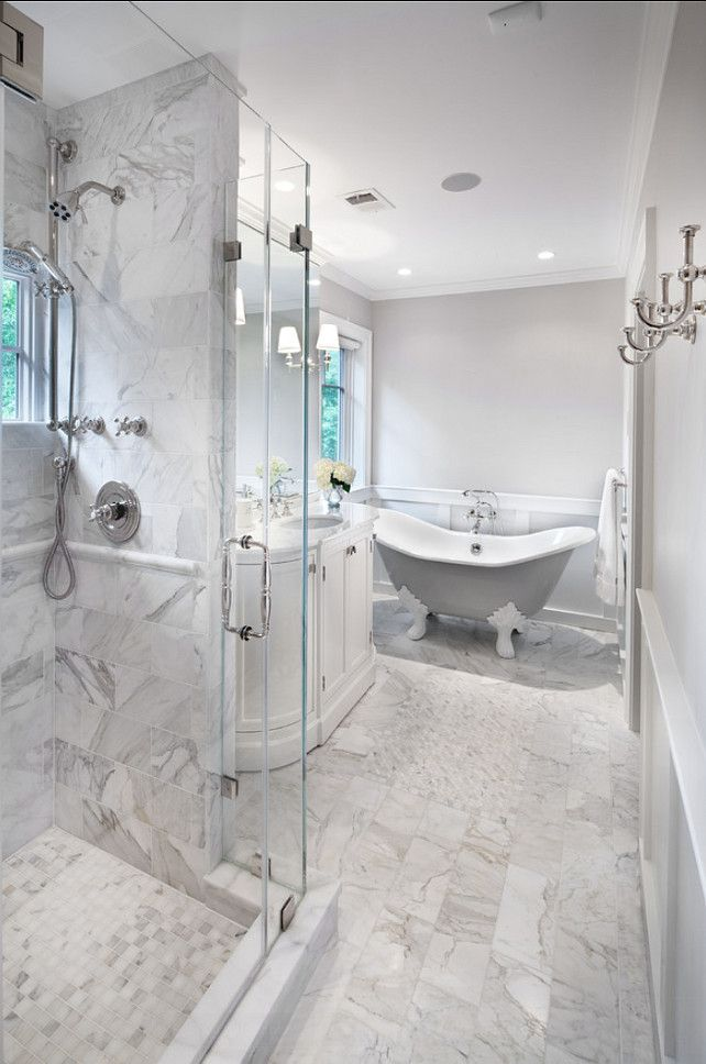 Bathroom. Classic Bathroom Design. Tiling Is Honed Carrara Marble