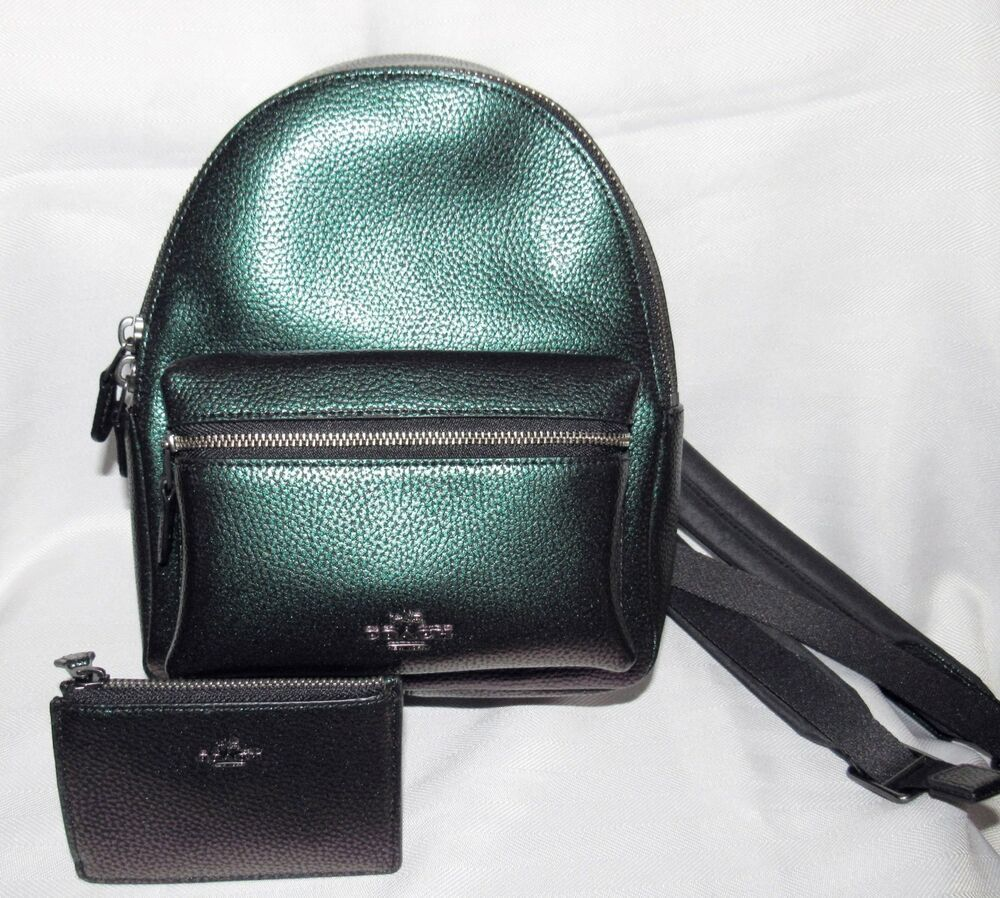 6367e8024154 Coach Women s Leather Mini Charlie Hologram Backpack Bag Wallet Set NEW NWT   425