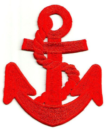 Nautical Set Embroidered Iron On Patch Red /& White Anchor