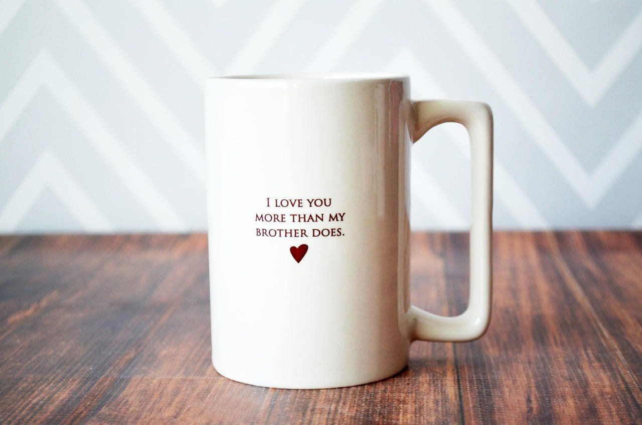Funny Father S Day Gift I Love You More Than My Brother Does Large Coffee Mug