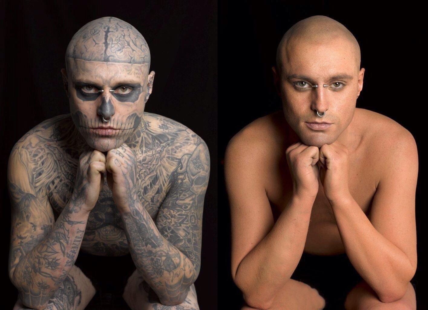 A Before And After Make Up Shoot With Rick Genest Aka Rico The Zombie Boy Famous Tattooed Actor From Canada Rick Genest Human Canvas Punk Tattoo