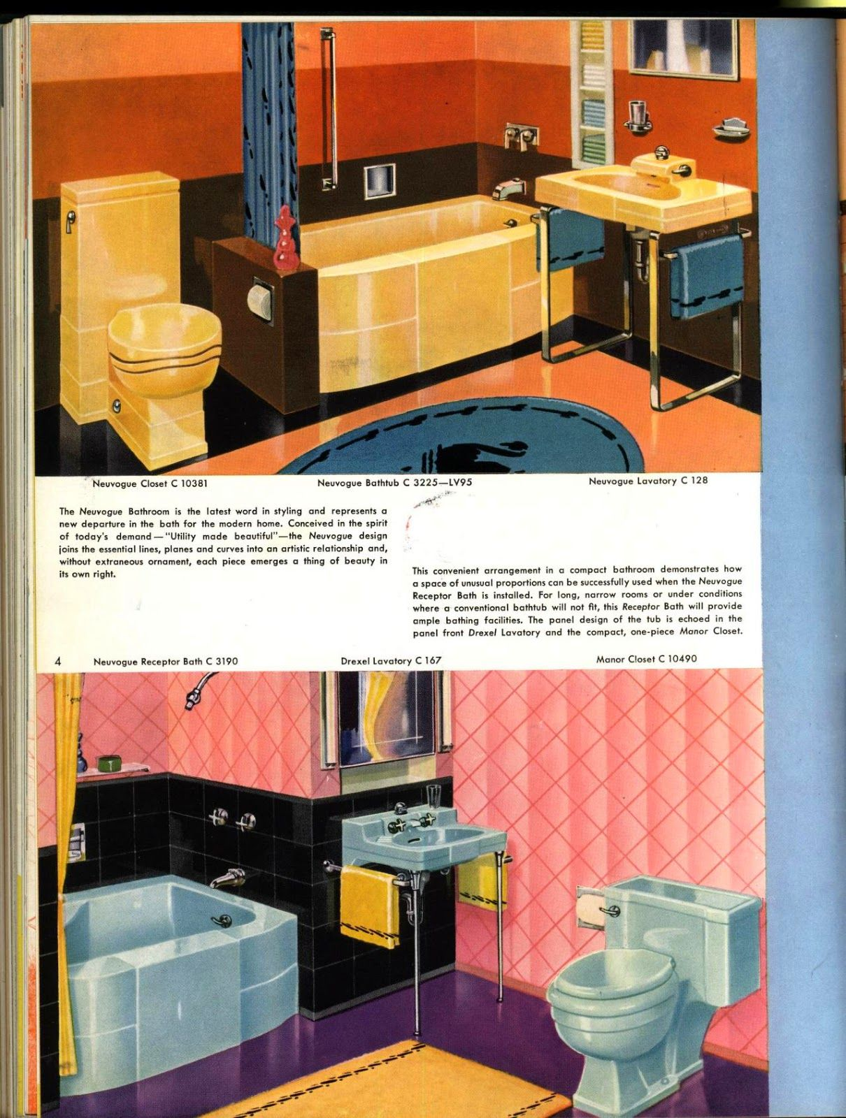 Vintage Crane Ad Featuring Bathtubs, Toilets And Sinks Designed By Henry  Dreyfuss