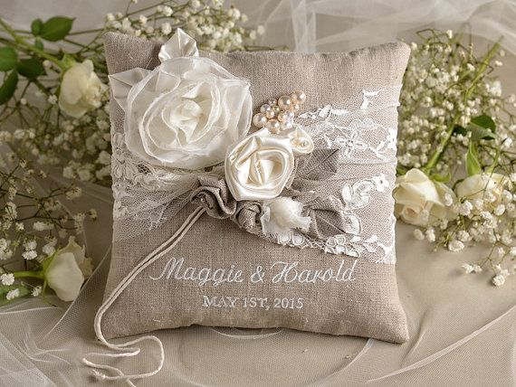 Natural Linen Wedding Pillow Ring Bearer Embroidery Names Shabby Chic Burlap