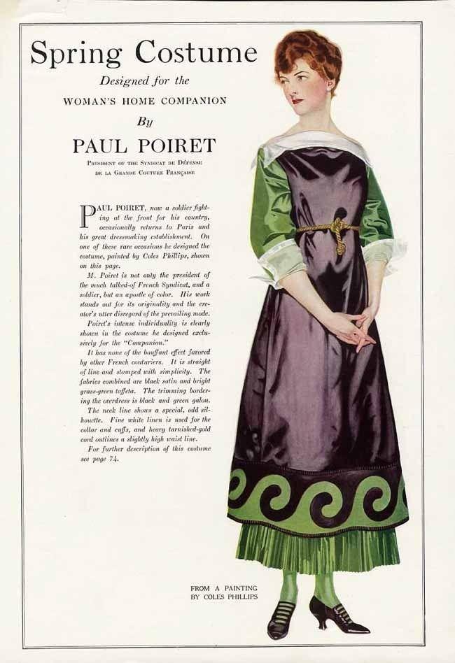 1132e7fd6b7 Dress by Paul Poiret, Spring 1918 Suffragette sympathizer colors ...