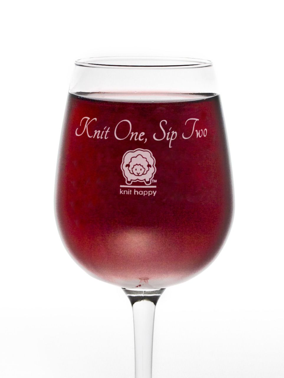 Knit Happy Knit One Sip Two Wine Glass Themed Wine Glasses Wine Wine Glasses