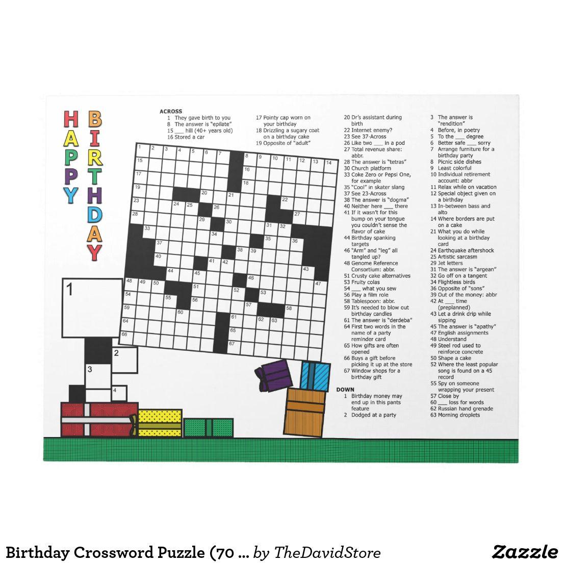 Birthday Crossword Puzzle 70 Clues Notepad Zazzle Com Crossword Puzzle Puzzle Books Crossword