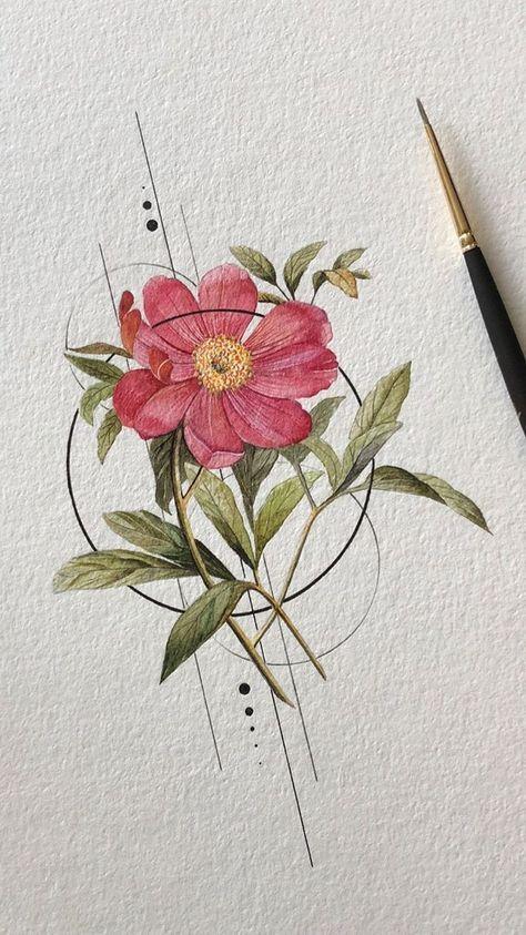 Flowers Watercolor Paintings Circle 18 Best Ideas