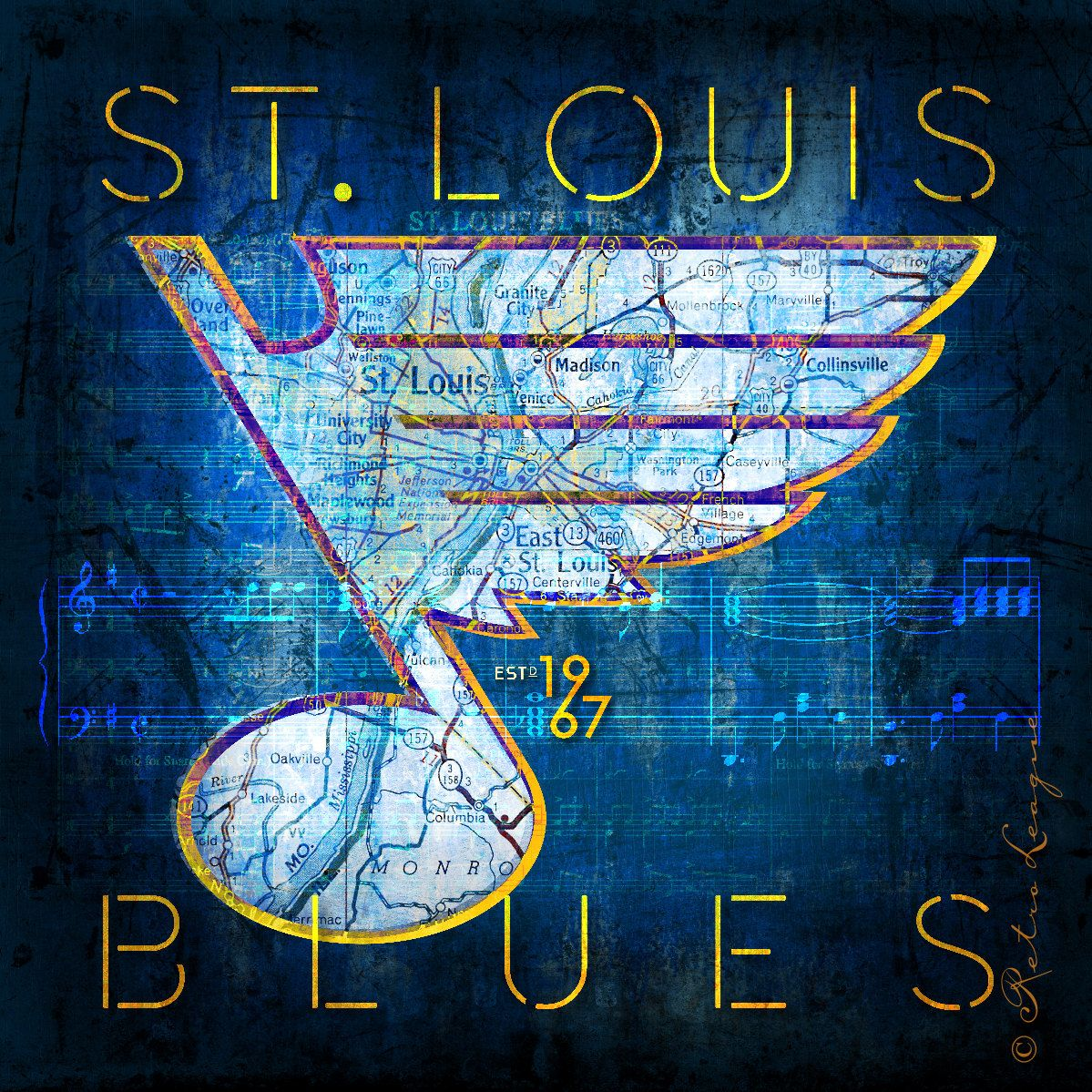 St louis blues map art perfect birthday by retroleague on etsy