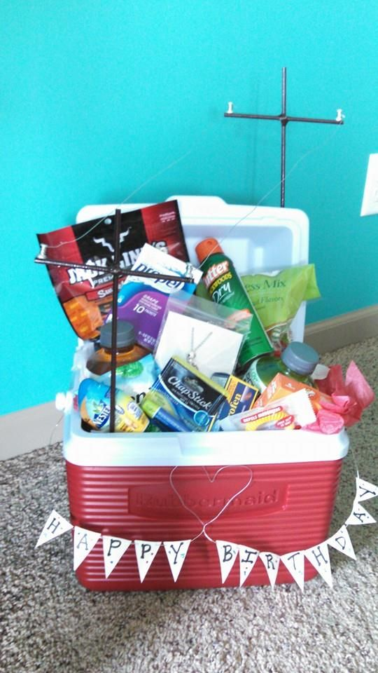 I made my Lineman a cooler birthday gift basket. He loved it. <3 ...