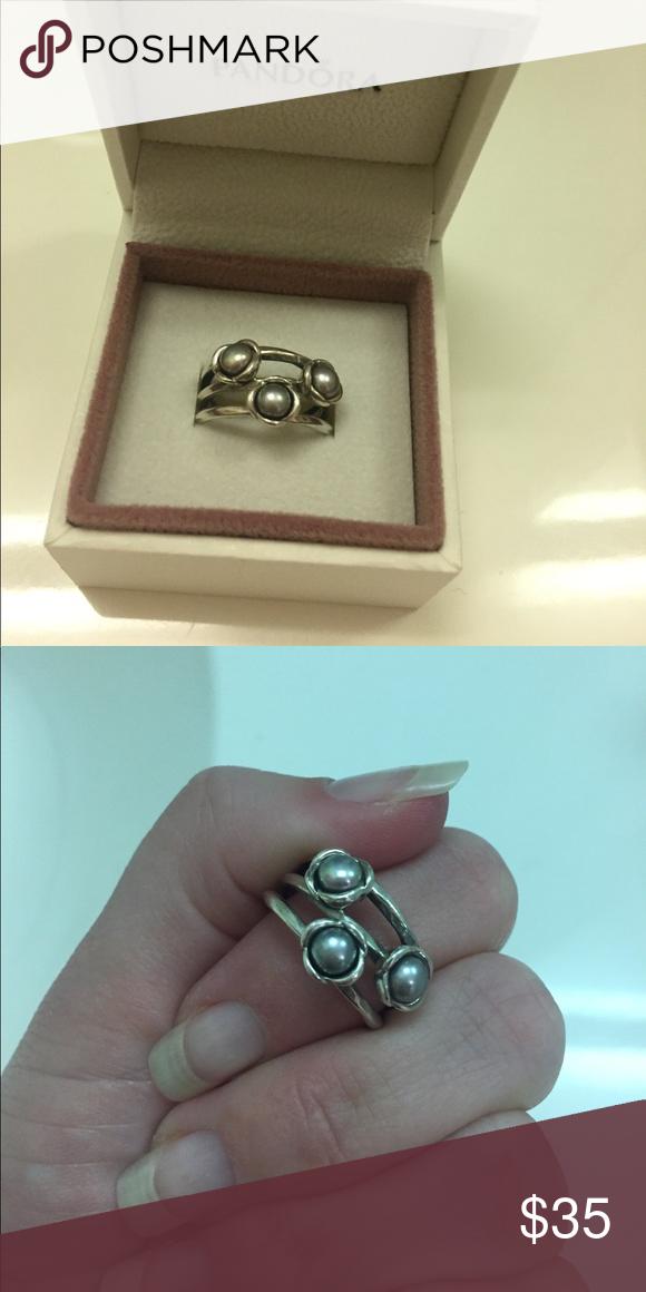 fb5e91f44 spain pearl pandora ring beautiful pandora ring with three grey pearls.  silver. size 6