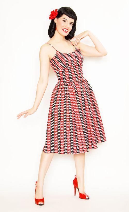 168 Stop Staring! 1930s Style Navy & Ivory Railene Dress ...