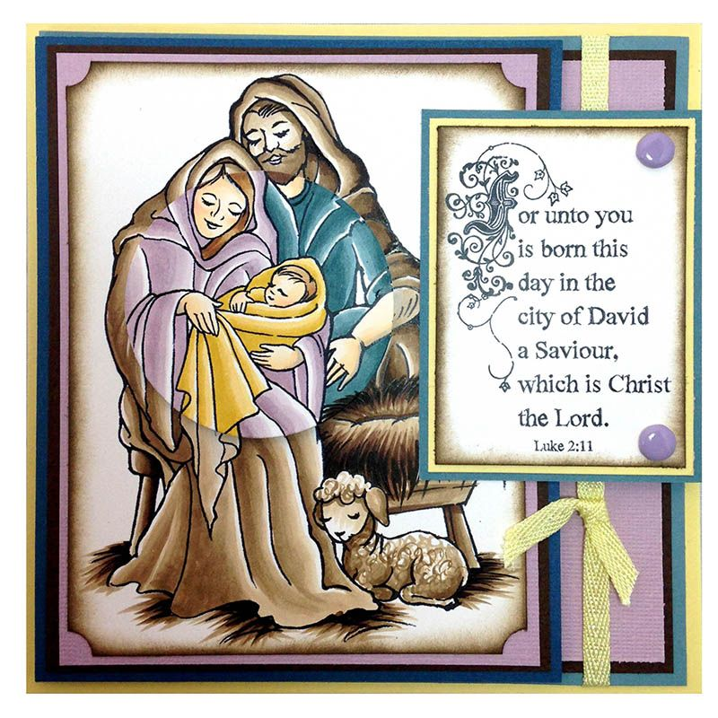 This nativity scene card by Jennifer Dove features the Manger Family stamp from Stampendous.