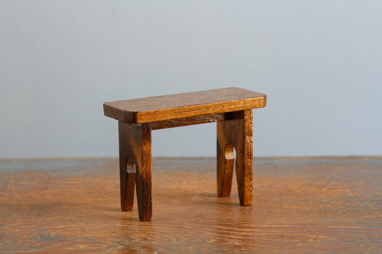 Superb Vintage Miniature Wooden Bench Dollhouse Fairy Garden Short Links Chair Design For Home Short Linksinfo