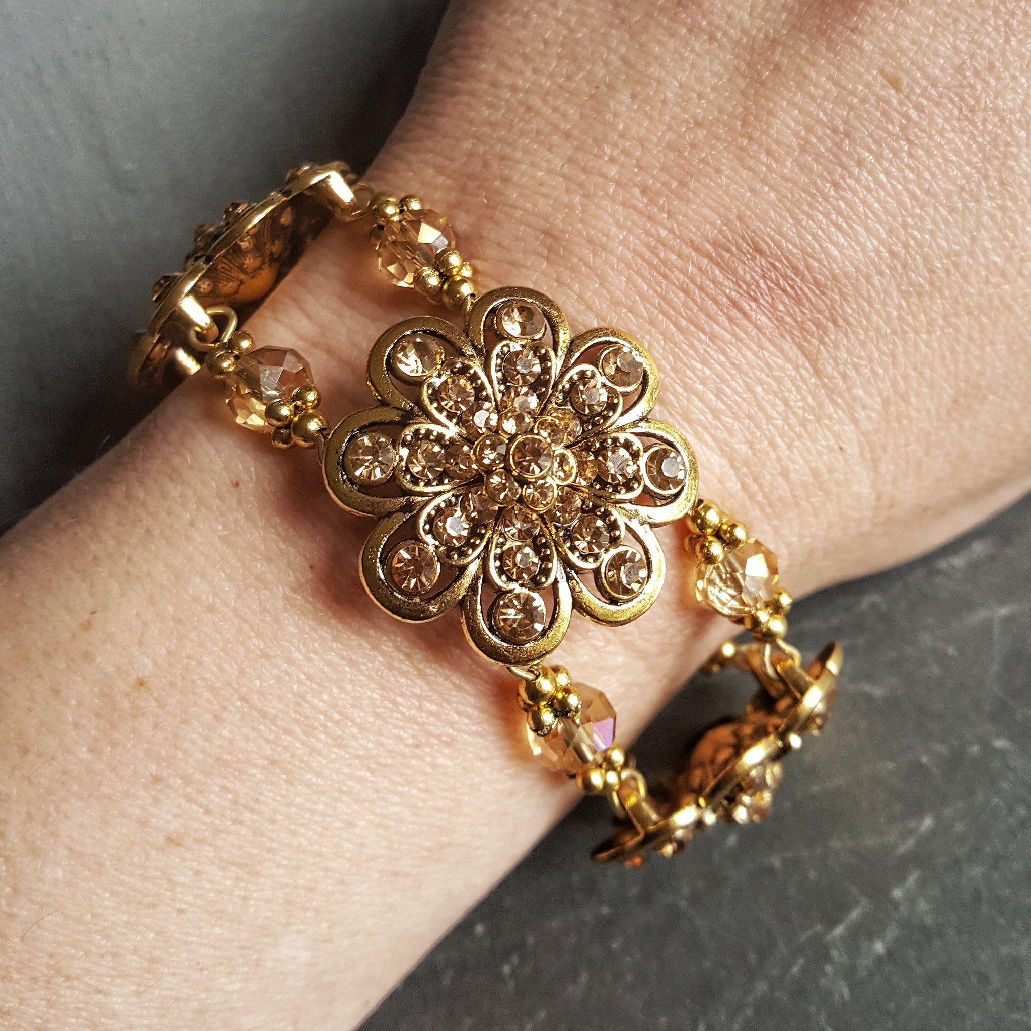Gold crystal statement bracelet dravynmoor bracelets pinterest