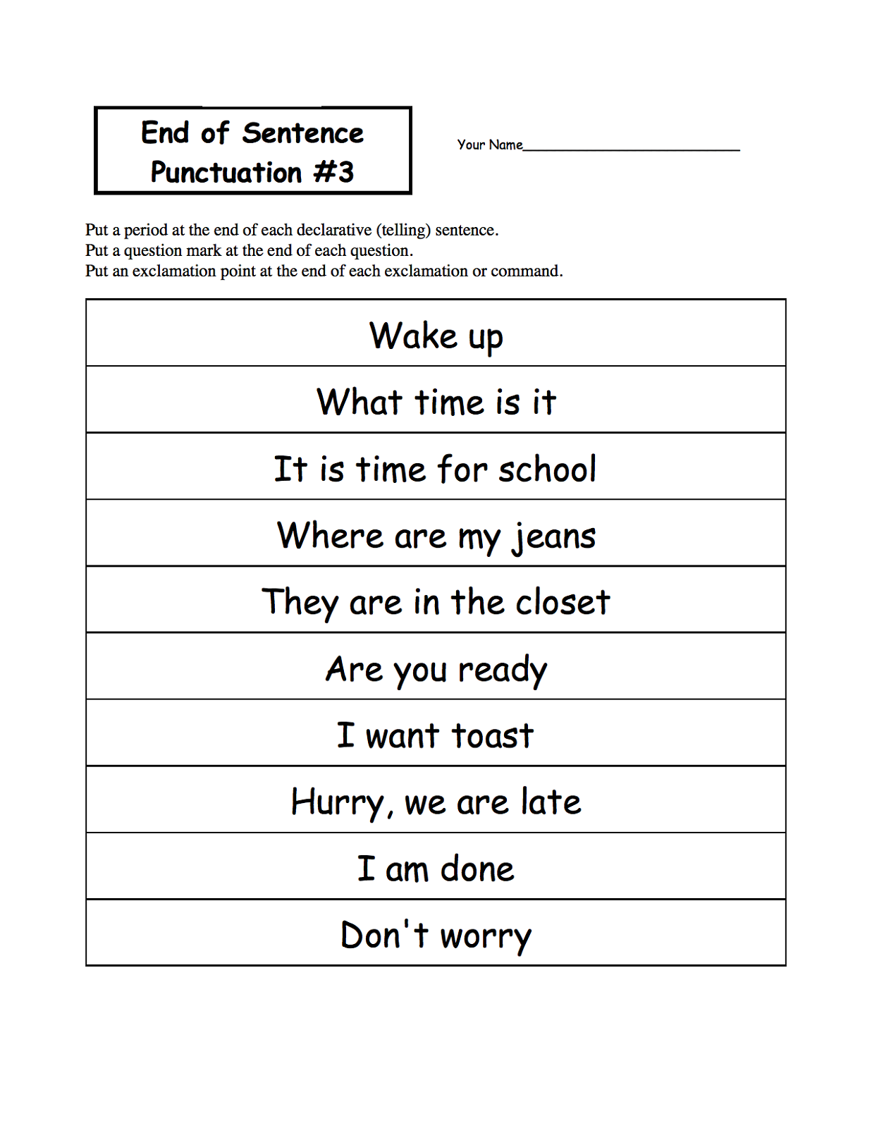 English Worksheets Ks1 Free Printable Sentence