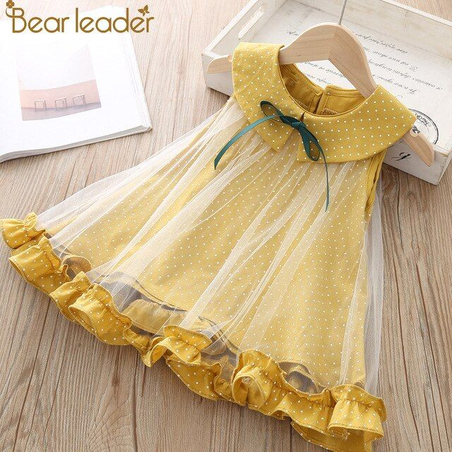 Bear Leader Girls Dress 2019 New Summer Style Brand Kids Dress Peter pan Collar Sleeveless Striped Pattern Pring for Baby Dress