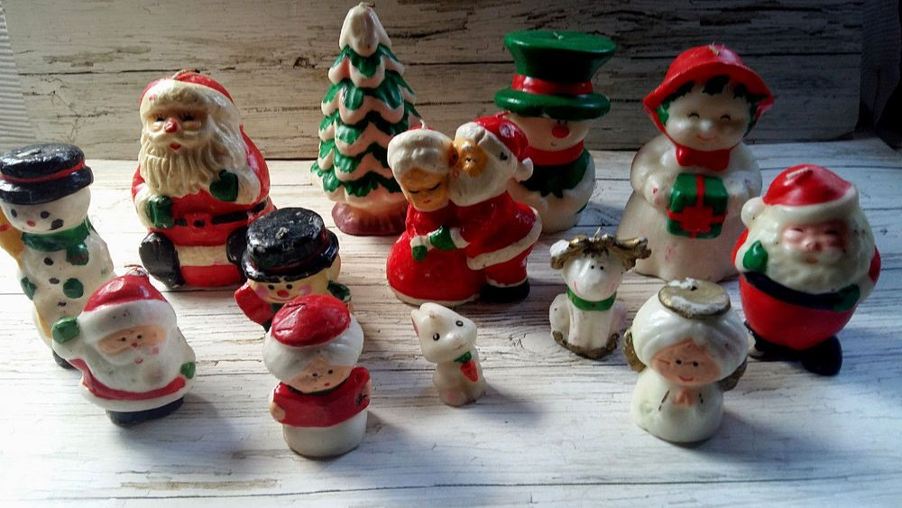 Job Lot X 14 Vintage Christmas Santa Snowman Tree Angel Character Wax Candles Snowman Tree Vintage Christmas Angel Tree