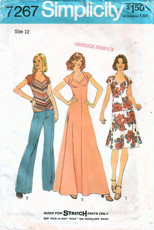 1970s Simplicity 7267 Uncut Vintage Sewing Pattern Misses Etsy In 2021 Knit Dress Pattern Vintage Sewing Patterns Simplicity Dress