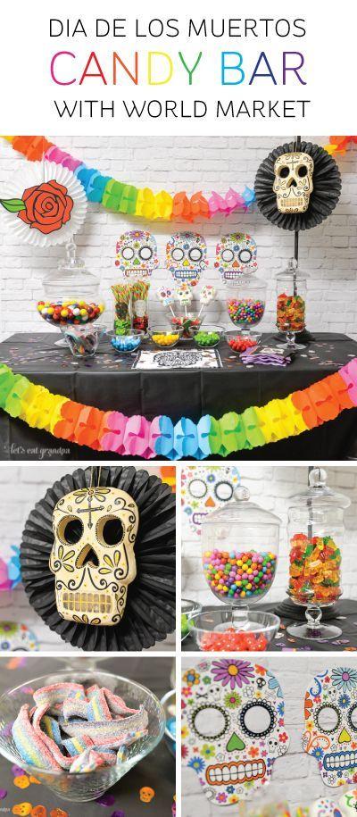 Mesa dulce para fiesta temática de Día de Muertos para halloween
