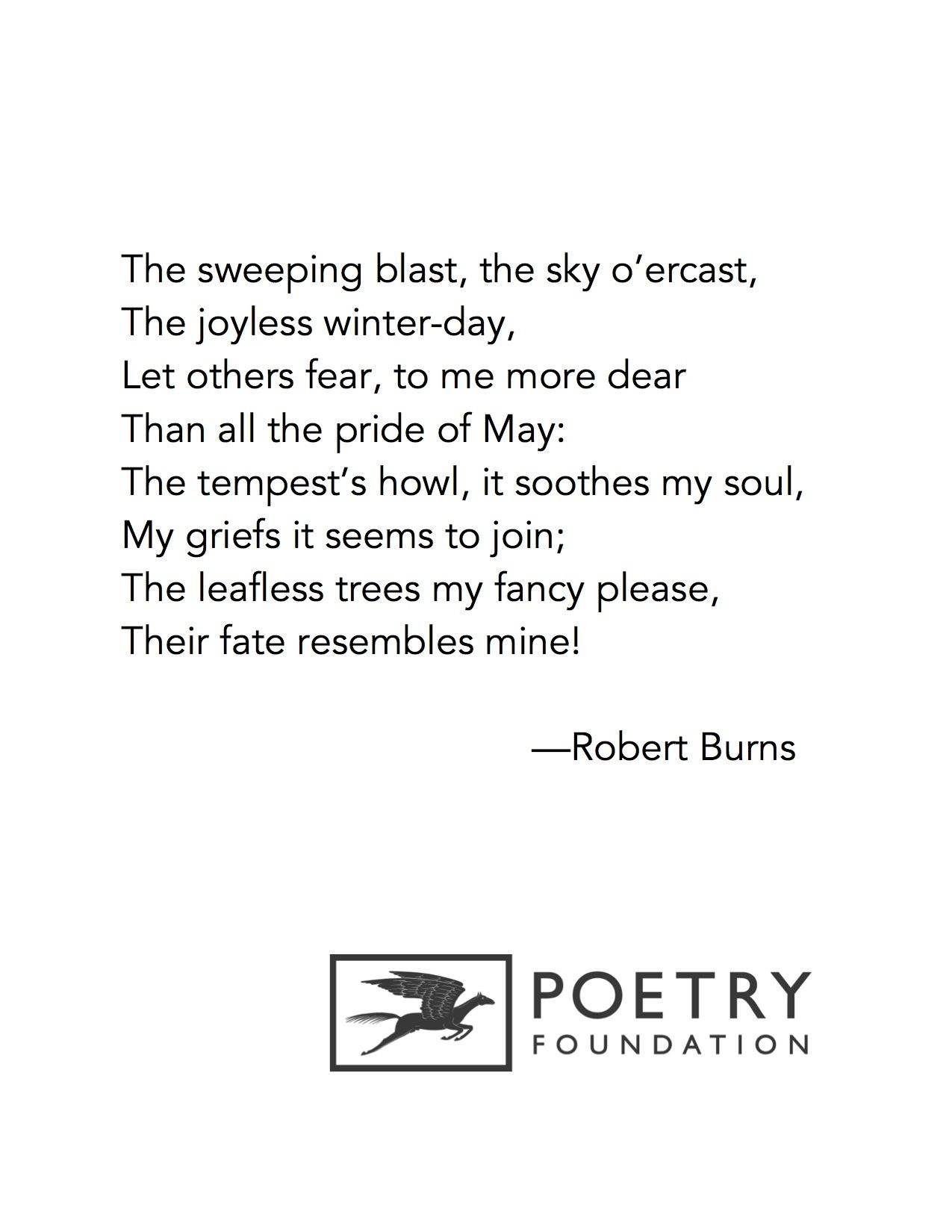 Winter A Dirge By Robert Burns Scottish Poems Poetry