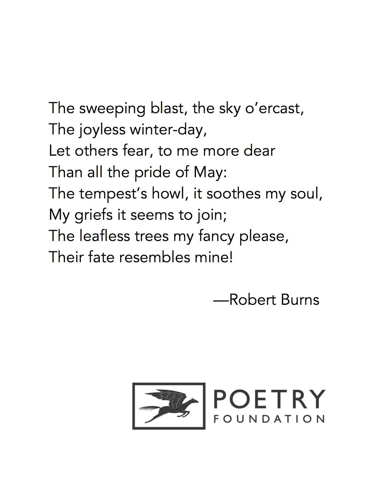 Winter A Dirge By Robert Burns Robert Burns Scottish