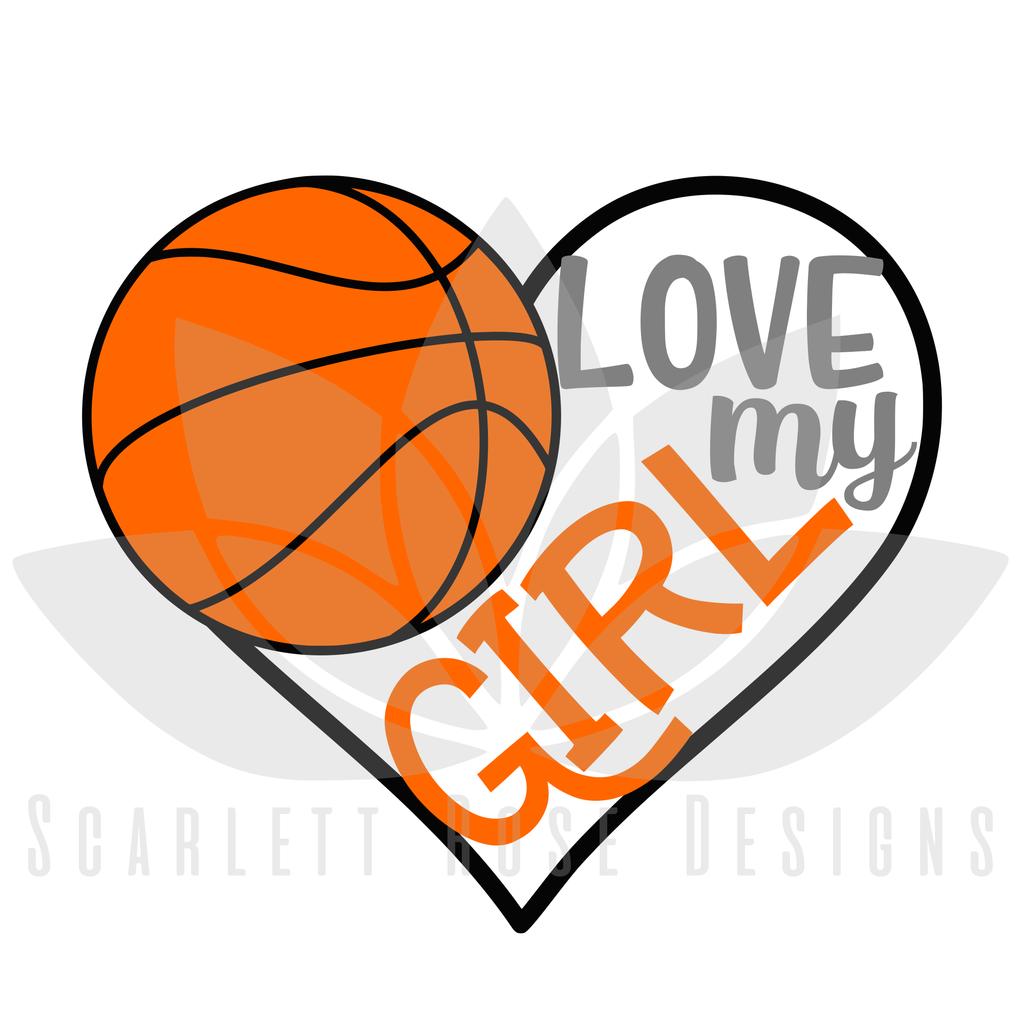 Basketball Sports SVG cut file, Love my Girl Basketball