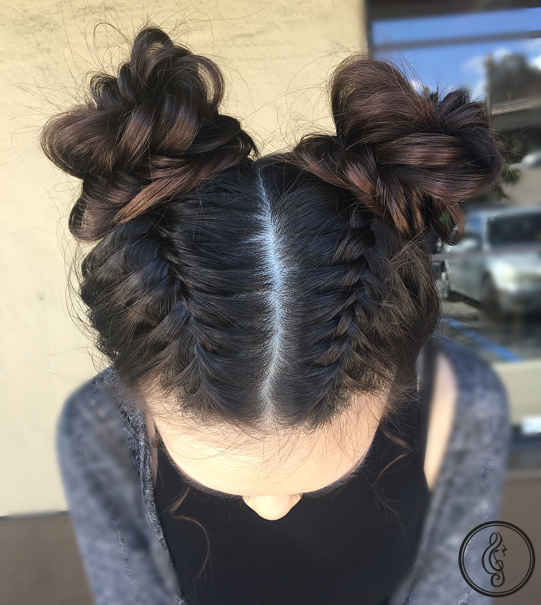 Braids and space buns Hair Pinterest