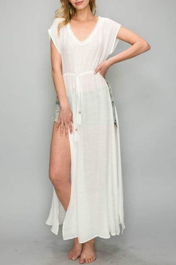 e5899b7d294 AAKAA Maxi Coverup Dress  coverup split neck