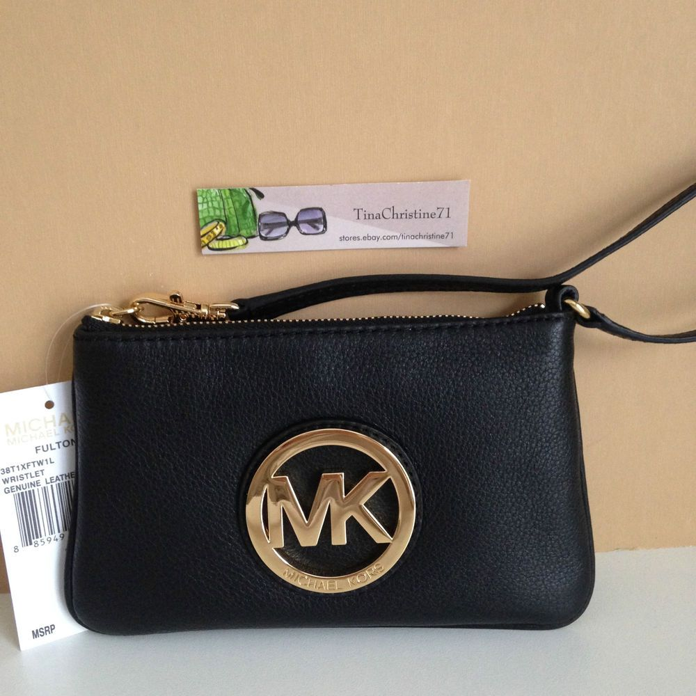 cbc759a59a43 NWT~Michael Kors Fulton MK Black Pebbled Leather Wristlet Purse Clutch~MSRP   98