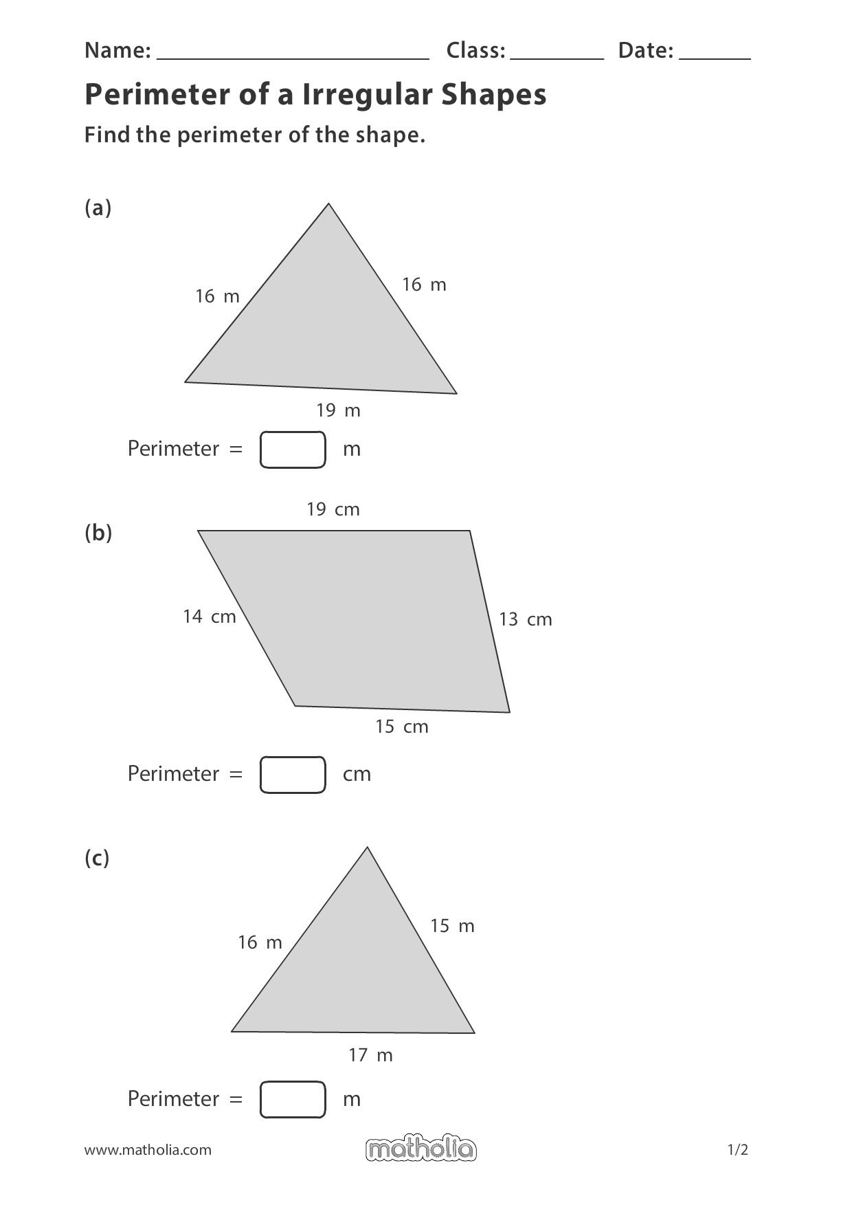 Perimeter Of A Irregular Shapes In