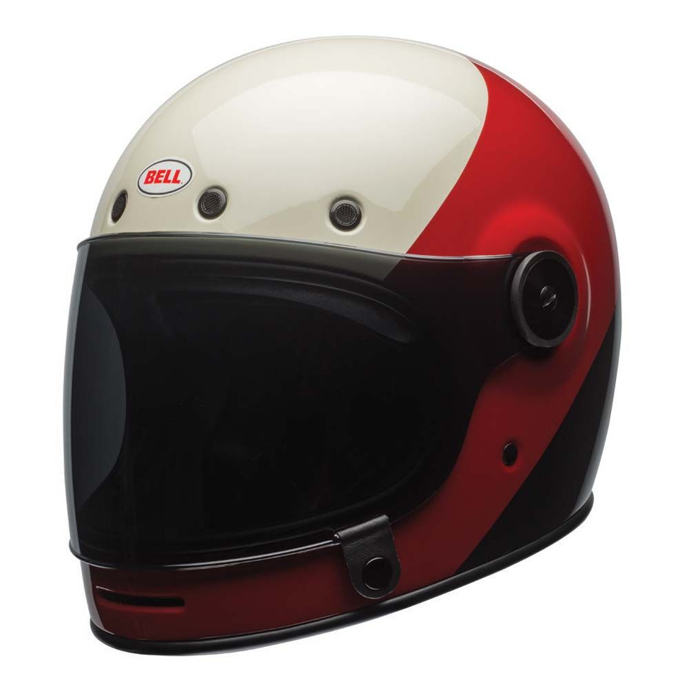 Bell custom 500 gloss black vintage low profile helmet chopper harley - Bell Bullitt Helmet Triple Threat Red Black The Cafe Racer
