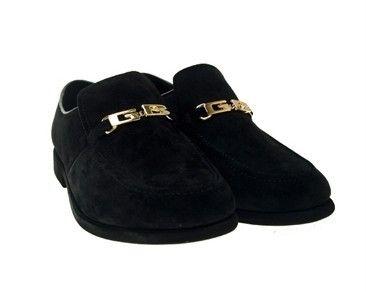 Black Suede Leather Dress Loafers Shoes Men Sz 9 Gummbe | eBay