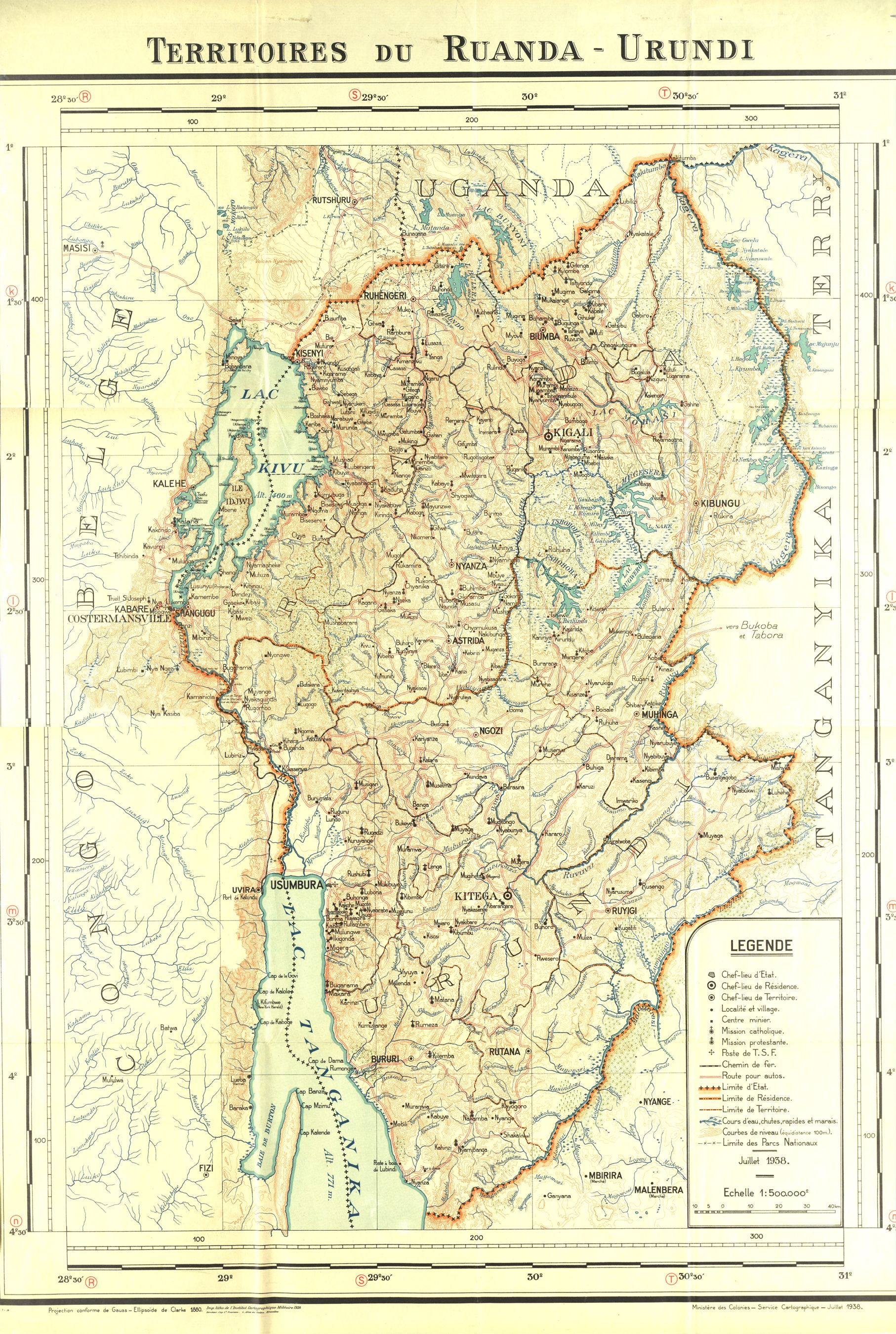 Extremely Detailed Map Of Belgian Rwanda Burundi 1938 Map