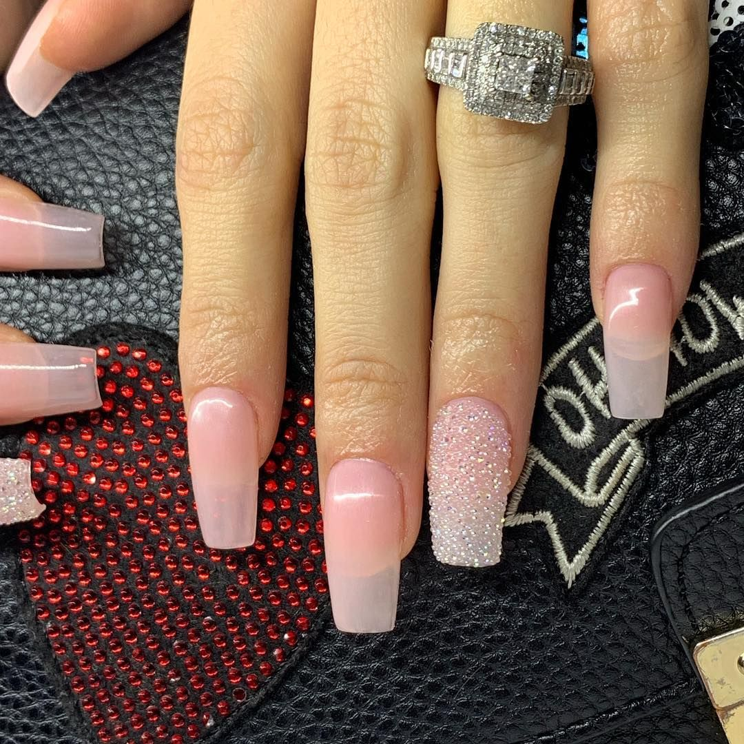 Yulie G On Instagram Medium Square Gel X Color From Tammytaylornails French Rose Souffle Square Gel Nails Square Acrylic Nails Natural Acrylic Nails