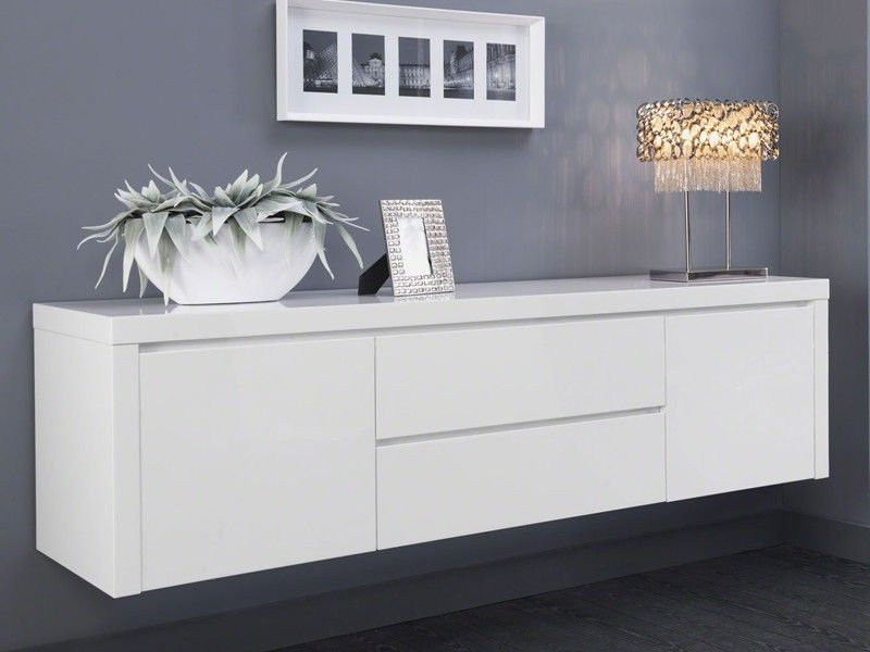 sideboard h ngend wei hochglanz 2 t ren 2 schubladen sieglinde wohnzimmer sideboard weiss. Black Bedroom Furniture Sets. Home Design Ideas