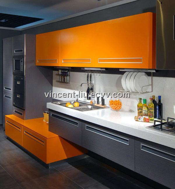Yellow And Orange Kitchen Ideas Part - 33: Orange And Grey Kitchen Cabinet With White Blackplash For Beautiful Fresh  Kitchen With Touch Orange Theme : White And Orange Kitchen