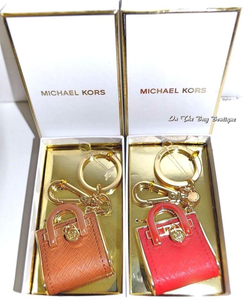 1fa562f14b0d Michael Kors Hamilton Red or Brown Bag Charm Key Chain Purse Fob in Gift  Box NIB  MichaelKors