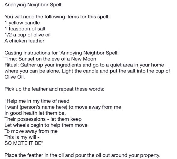 750984d7b5d7c036b83d5a5083070630 - How To Get Rid Of A Bad Neighbor Spell