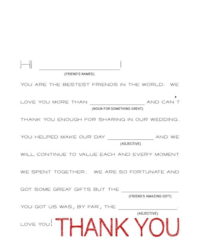 Wedding Gift Thank You Note Wording