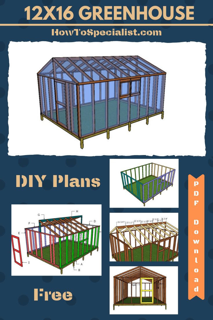 12x16 Greenhouse Plans Free Pdf Download Howtospecialist How To Build Step By Step Diy Plans Greenhouse Plans Greenhouse Wooden Greenhouses