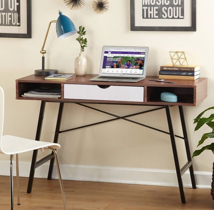 Small Laptop Desk Dorm Study Computer Mid Century With Drawer Cubbyholes Decor Home Office Furniture Mid Century Desk Home Decor
