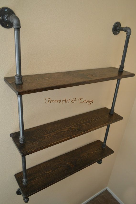 3 Tier Steampunk Shelf Industrial Pipes Wall by FerreroArtDesign - 3 Tier Steampunk Shelf Industrial Pipes Wall By FerreroArtDesign