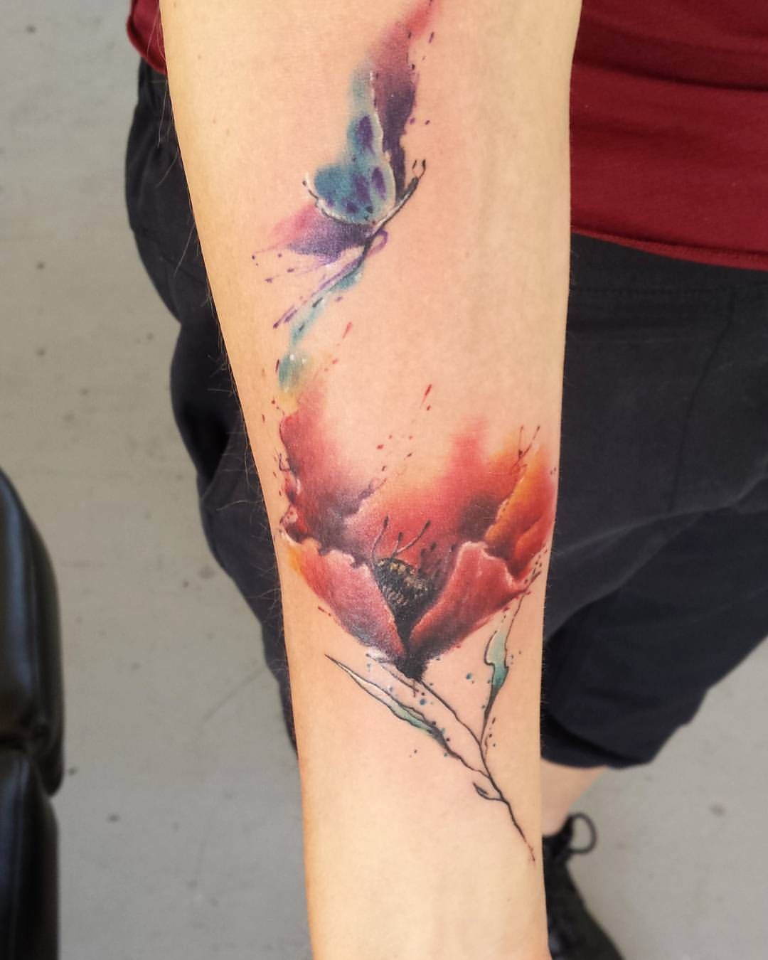 Freehand Watercolour Poppy And Butterfly On Forearm Had Heaps Of