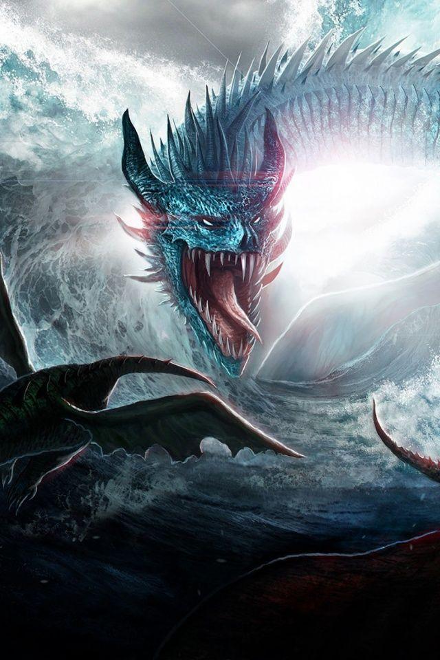 Phone Dragons Ocean Sea Mobile Wallpaper Wallpapers