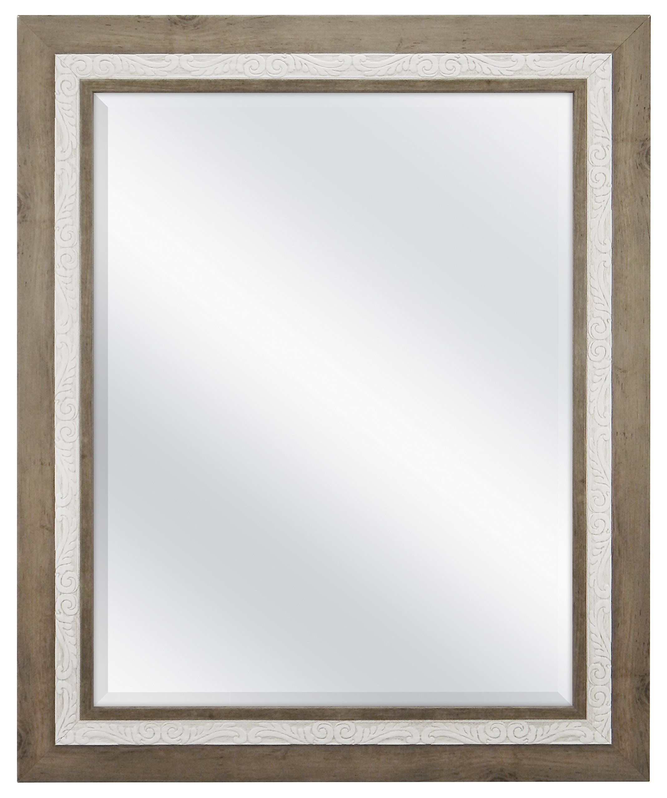 Mcs 22X28 Inch Beveled Wall Mirror Rustic Wood & Embossed,