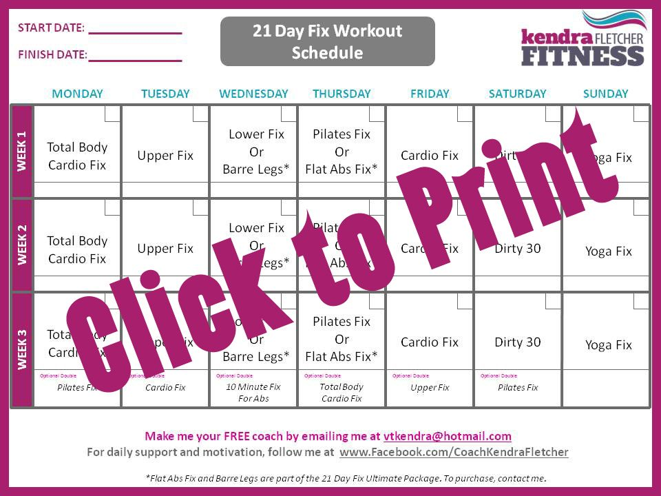 This is a graphic of Remarkable 21 Day Fix Workout Schedule Printable